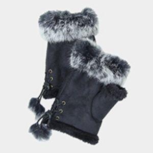 Accessories - Fleece Lined Fur Trimfingerless gloves